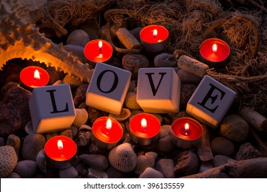 Romantic candels on the beach