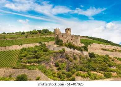 Romantic castles in Rhine valley is a winemaking area in a beautiful summer day, Germany