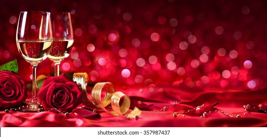 Romantic Celebration Of Valentine's Day, With Wine And Roses