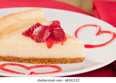 Romantic cheesecake dessert with strawberries for valentines day