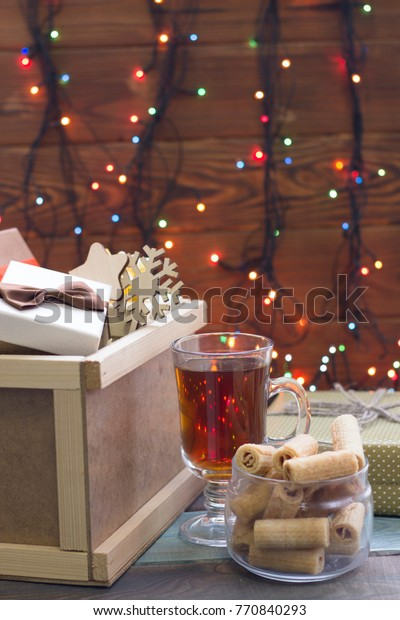 Romantic Christmas Evening Cup Hot Fragrant Stock Photo Edit Now 770840293