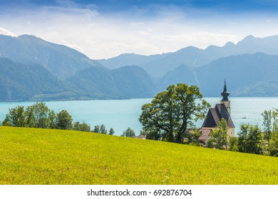 romantic church, Sankt Andreas with beautiful view to the lake Attersee in Austria salzkammergut, Austria, europe