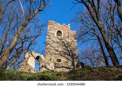 Romantic Cibulka lookout tower, Prague, Czech Republic, sunny day, clear blue sky