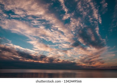 Romantic clouds in the sky during spring sunset