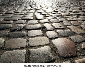 romantic Cobblestone pavement street background