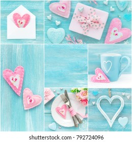 Romantic collage in pastel blue and pink colours with decorations, hearts, gifts and flowers. With copyspace for your text