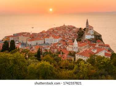 Romantic colorful sunset over picturesque old town Piran, Slovenia
