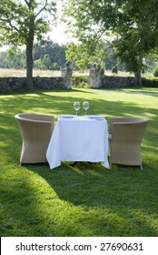 "romantic concept ""table for two"" in the garden"