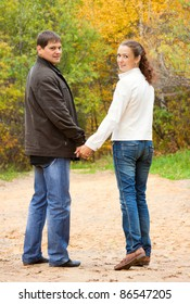 Romantic couple in autumn park