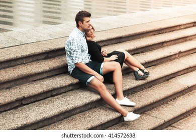 Romantic couple. Beautifull woman and handsome man outdoor together.