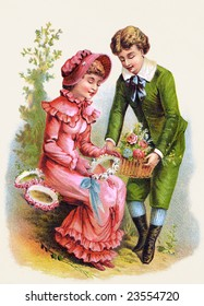A romantic couple courting and exchanging flowers - an 1886 Victorian style illustration