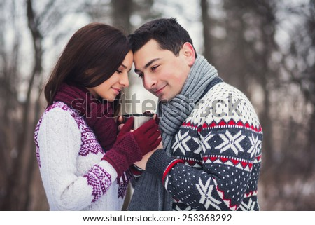 Romantic couple in winter