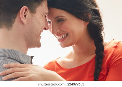 Romantic Couple Embracing Indoors