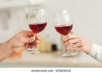 Romantic couple enjoying dinner at home, love, relationship and love concept