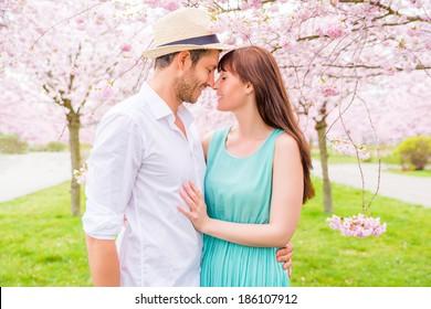 romantic couple in fairytale garden park