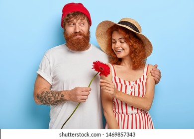 Romantic couple in love feel love to each other, bearded ginger boyfriend hugs girlfriend with love, gives red gerbera flower, have first date, wear stylish clothes, isolated on blue wall. Relations