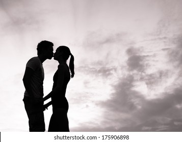 Romantic couple in love kissing.