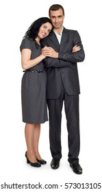 romantic couple in love, people dressed in black suit, beautiful woman and man isolated on white background