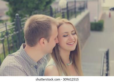 Romantic couple outdoor portrait