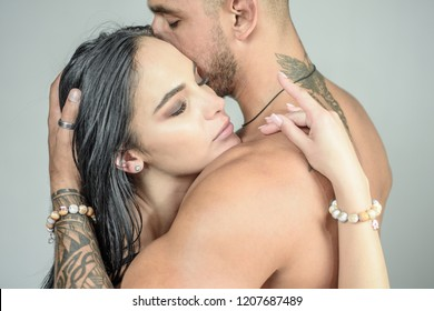 Romantic couple. Sensual and intimate moment of lovers. Feeling and emotion. Man enjoying foreplay with sexy lady