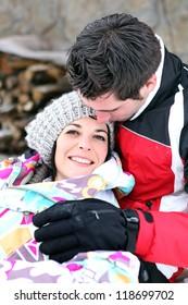 Romantic couple in the snow