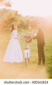 Romantic couple strolling in sunny park with decorated bicycle between them. Warm flares