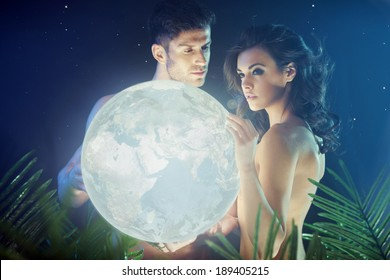 Romantic couple in the tropical jungle