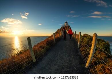 Romantic couple walking towards lighthouse at Nugget Point, Dunedin, New Zealand. Young lovely couple enjoys morning walk along coastline of New Zealand. Lifestyle image of people in natural landscape