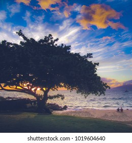 Romantic couple watching the sunset on a beach with silhouette of a tree and dramatic clouds in the sky near Makena Beach, Maui, Hawaii