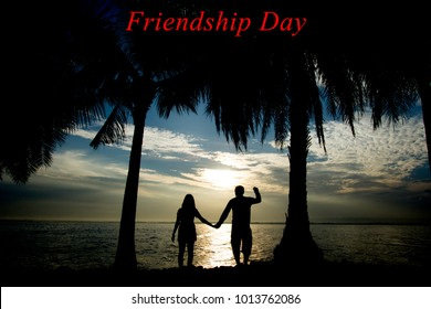 romantic couples, young handshake at sunrise or sunset, Friendsh