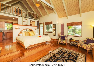 Romantic Cozy Bedroom with Hardwood Floors. Home Interior Design