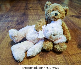 Romantic cuddly teddy bears - head on the lap