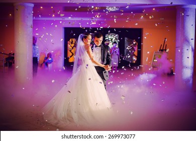 romantic dance by wedding couple