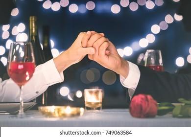 Romantic date, candle light dinner, love concept