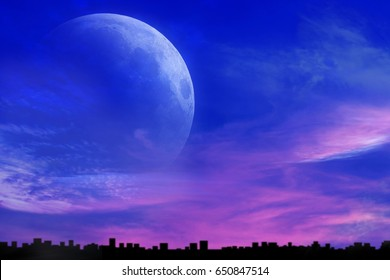 Romantic decline over the city. Mystical moon . Sunset and new moon . Night city . Cityscape, Decline over the city .  Paradise heaven . Dawn in pink clouds . Religious background.