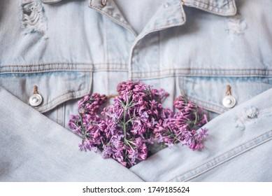 romantic denim style: lilac and denim jacket