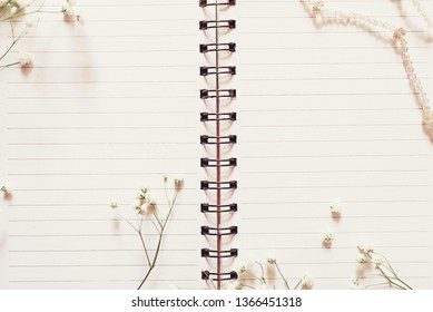 Romantic diary pages with flowers