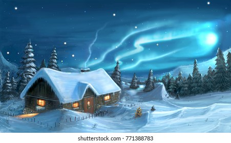 Romantic digital painting of snowy winter christmas winter night cottage in mountains.