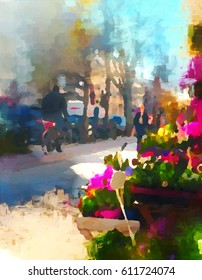 Romantic digital painting of a street scene in Berlin with flower shop and cyclist