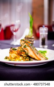Romantic dinner - Grilled salmon on roasted mash potato with asparagus