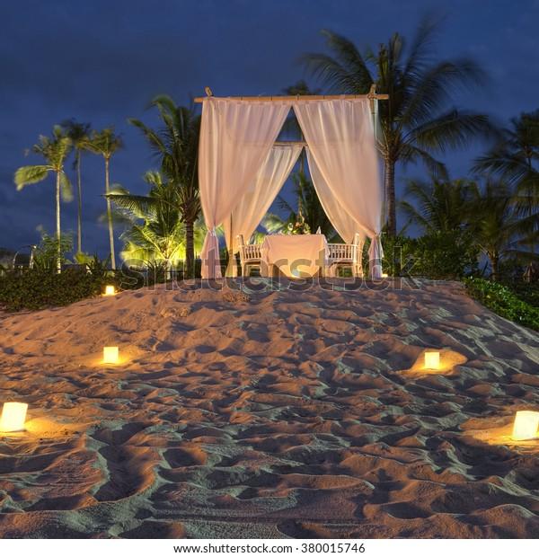 Romantic Dinner On Beach Bali Indonesia Stock Photo Edit