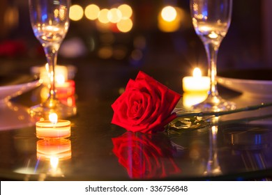 Romantic dinner setting.