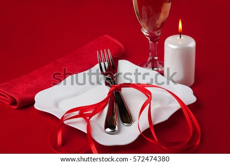Romantic Dinner Valentines Day Red Background Stock Photo Edit Now