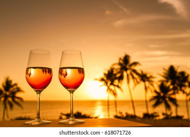 Romantic dinning by the beach. Exotic beach holiday concept.