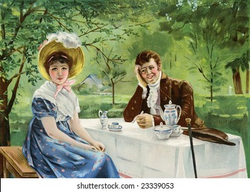 Romantic, engaged couple having a tea time discussion in an outdoor setting - a Victorian style illustration, circa 1830