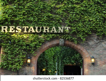 romantic entrance to old restaurant