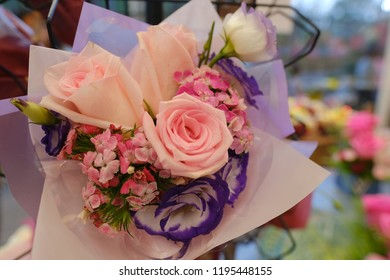 Romantic Flower bouquet arrangement with special pink red white rose