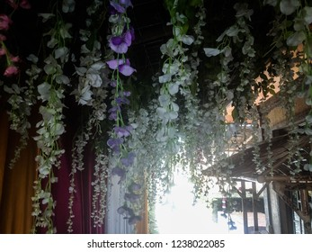 Romantic Flowers Hanging Wedding Decorations Towards The Wedding Venue At Tuka Village, Badung, Bali, Indonesia