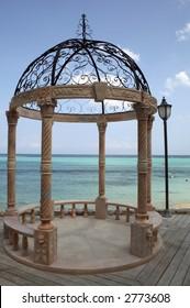 Romantic gazebo near the ocean in the Caribbean