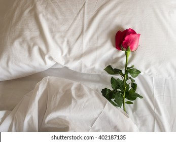 A romantic getaway with red roses on fluffy pillows and bed. For love concept or background.